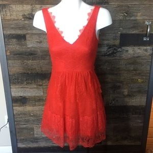 BCBG red lace formal dress xs